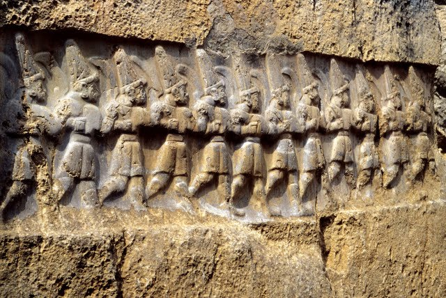 Relief with the twelve gods of the underworld at Yazılıkaya Rock Temple (photo credit: KLAUS-PETER SIMON/WIKIMEDIA COMMONS)